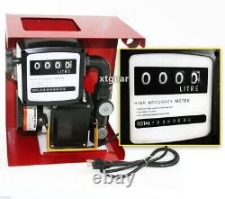 110V Electric Oil Fuel Diesel Gas Transfer Pump WithMeter 12' Hose Manual Nozzle