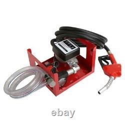 12v Electric Diesel Fuel Transfer Pump Dispenser With Hose Nozzle Flow Meter