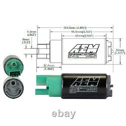 Aem High Flow E85 340lph In-tank Fuel Pump Kit 65mm 50-1220 For Mitsubishi-scion