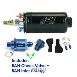 GENUINE AEM 50-1009 400LPH Inline Fuel Pump +8AN Inlet Fitting / 6AN Check Valve