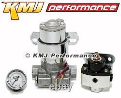 High Flow Electric Fuel Pump 130GPH Universal with Black Regulator& Pressure Gauge