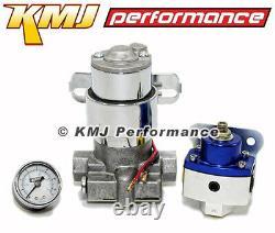 High Flow Electric Fuel Pump 130GPH Universal with Blue Regulator & Pressure Gauge