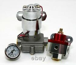 High Flow Electric Fuel Pump 140GPH Universal with Red Regulator & Pressure Gauge