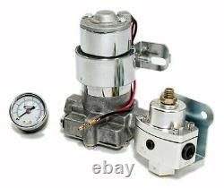 High Flow Electric Fuel Pump 140GPH Universal with Regulator & Pressure Gauge Kit