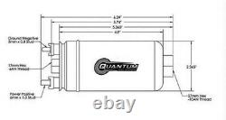 QUANTUM 380LPH Inline External Fuel Pump with 8AN Fittings+Check Valve 50-1009 044
