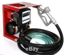 110v Électrique Mazout Diesel Gaz Pompe De Transfert Withmeter 12' Manuel Tuyau Buse