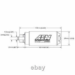 Aem Electronics 340lph E100 Et M100 Compatible À Débit Élevé Dans La Pompe À Carburant Du Réservoir