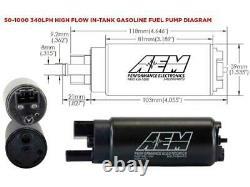 Kit De Pompe À Carburant À Débit Élevé Aem 340lph (entrée Offset) 50-1000 Gss341
