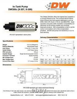 Pour 2015-2020 Subaru Wrx 2013-2020 Brz Scion Fr-s Deatschwerks 340lph Pompe À Combustible