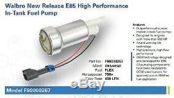Véritable Walbro 450lph Haute Performance Pompe À Essence + Kit D'installation F90000267 E85 Nouveau